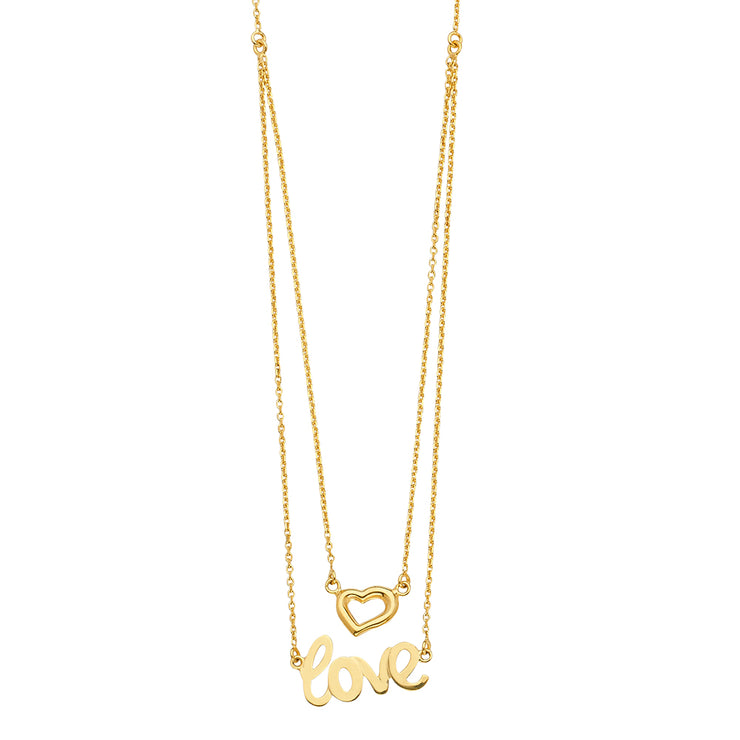 14K Gold Two Lines Layering Heart and Love Pendant Charms Chain Necklace - 18'