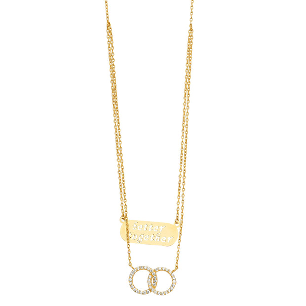 14K Gold Two Lines CZ Eternity Circle Rings Duo and 'Better Together' Pendant Charms Chain Necklace - 18'