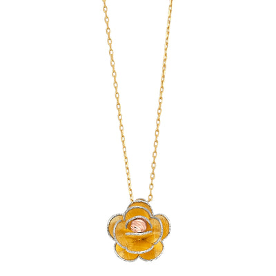 14K Gold Two Lines Open Flower Pendant Charms Chain Necklace - 17'