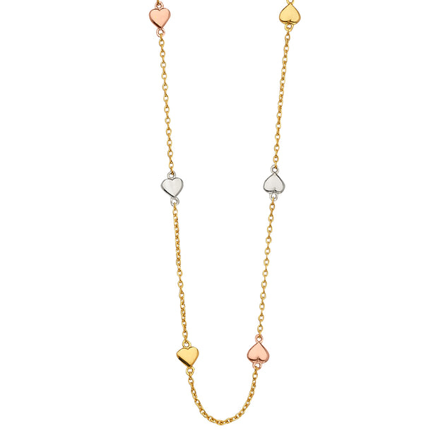 14K Gold Heart Charms Light Chain Necklace - 17'