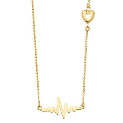14K Gold Thunder Lifeline Heartbeat Heart Pendant Charms Light Chain Necklace - 18'