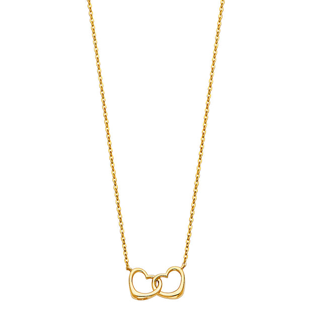 14K Gold Interlocking Double Hearts Pendant Chain Necklace - 17+1'