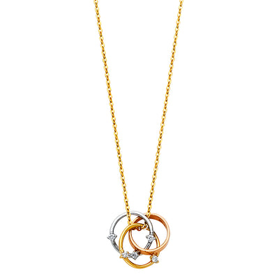 14K Gold  3 Circle Infinity Love Knot Rings with CZ  Pendant Chain Necklace - 17+1'