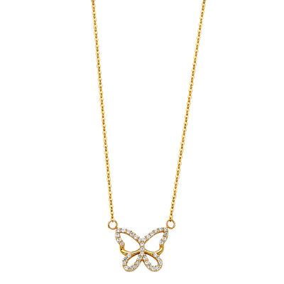 14K Gold Open Butterfly Charm CZ Pendant chain Necklace - 17+1'