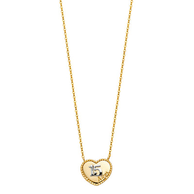 14K Gold Quinceanera Heart Pendant Chain Necklace - 17+1'