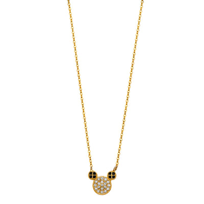 14K Gold Micky Mouse Ears CZ Pendant Chain Necklace - 17+1'