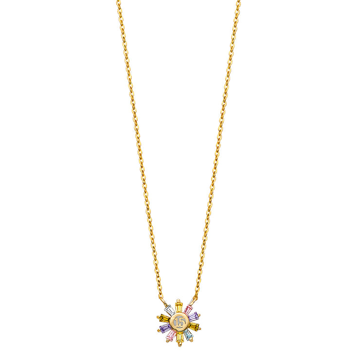 14K Gold Quinceanera Multi-Color CZ Round Necklace - 17+1'