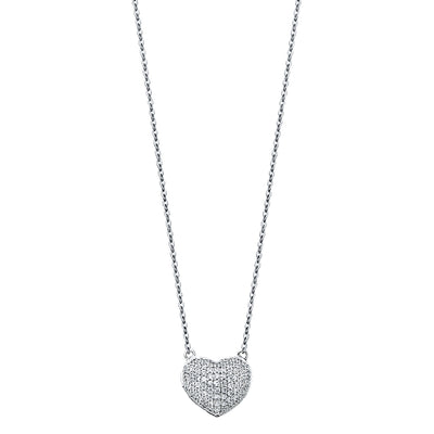 14K Gold Heart With Micro Pave CZ Pendant Chain Necklace - 17+1'