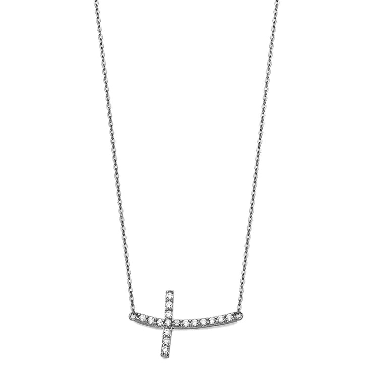14K Gold Curved Sideways Cross CZ Necklace - 17+1'