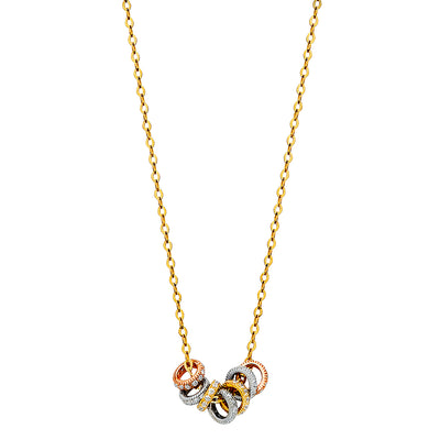 14K Gold Round Charms CZ Pendant Chain Necklace - 17+1'