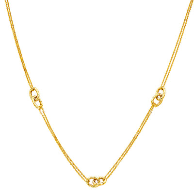 14K Gold Eternity Interlocking Open Circles Necklace with Double Chain - 17+1'