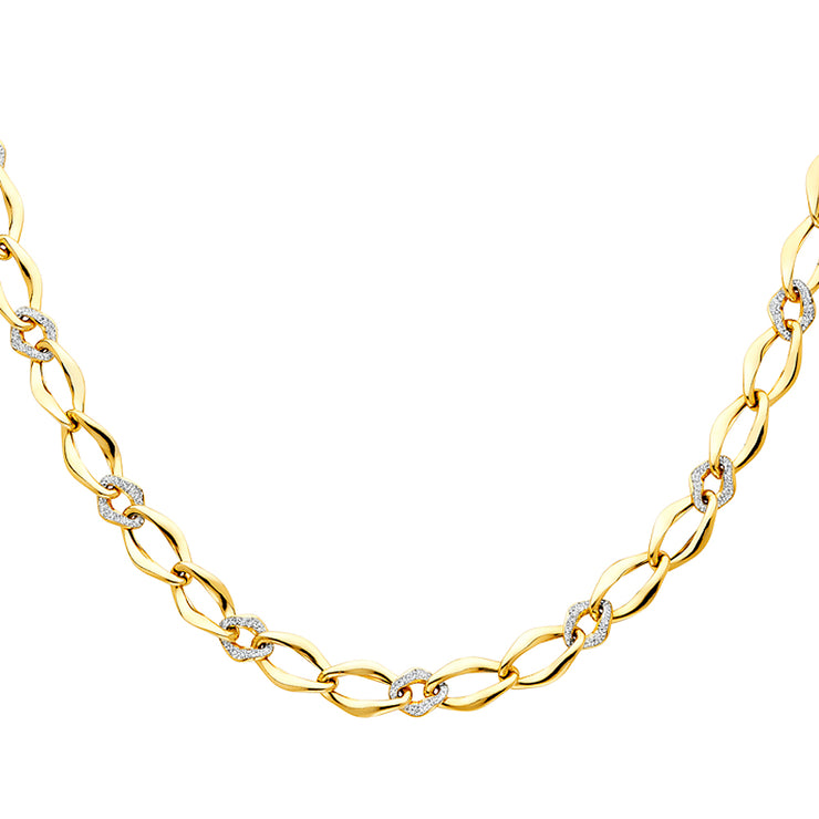 14K Gold Fancy Flat Chain Linked Hollow Chain Link Necklace - 18'