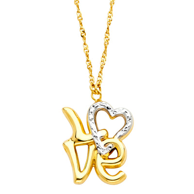14K Gold Love Word & Heart Pendant Charm Chain Necklace - 17+1'