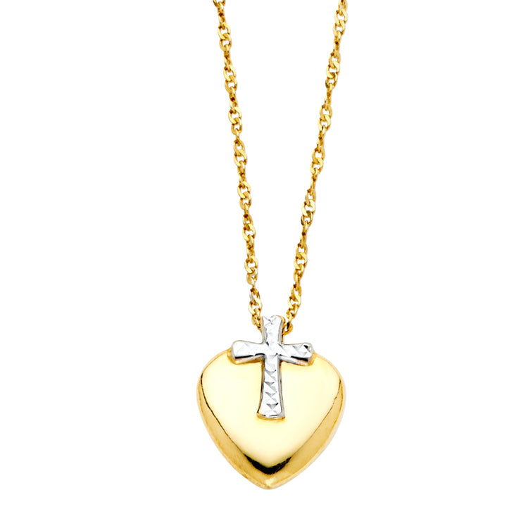 14K Gold Cross & Heart Pendant Charm Chain Necklace - 17+1'
