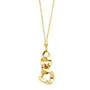 14K Gold Fancy Quad Drop Necklace - 17+1'