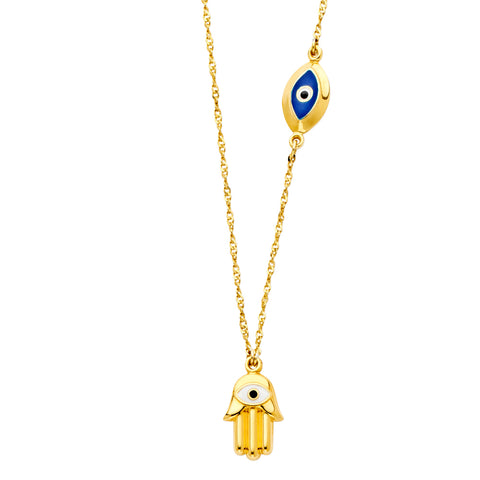 14K Yellow Gold Hamsa + Evil Eye Necklace - 17+1""