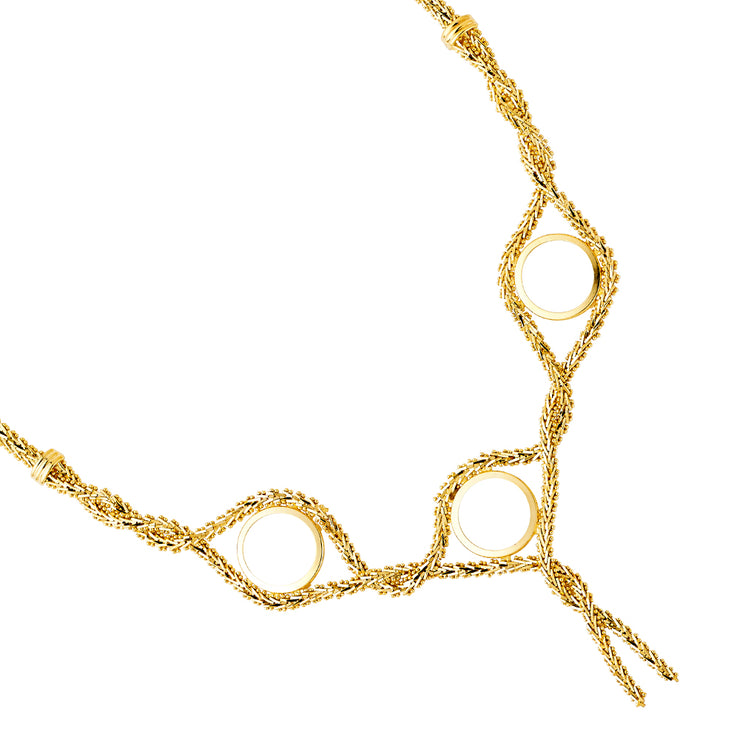 14K Gold 2 Pesos (3 piece) Bola Necklace - 17'