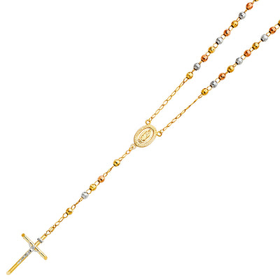 14K Gold 5mm Ball Nuestra Senora Guadalupe Crucifix Cross Pendant Rosary Beads Prayer Necklace - 26'