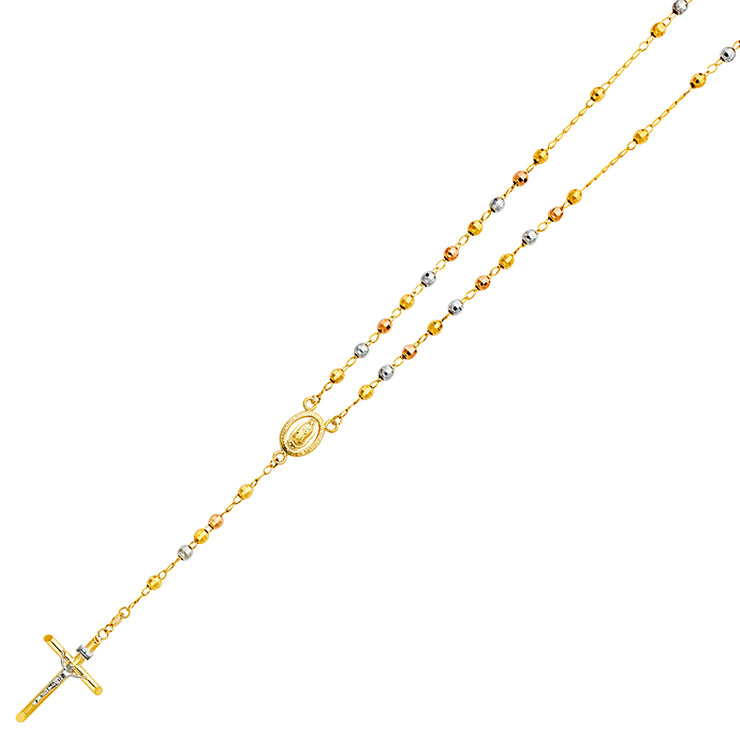 14K Gold 4mm Ball Nuestra Senora Guadalupe Crucifix Cross Pendant Rosary Beads Prayer Necklace - 26'