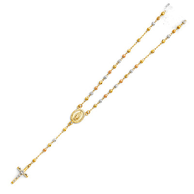 14K Gold 3mm Beads Ball Guadalupe Crucifix Cross Pendant Rosary Beads Prayer Necklace - 18'