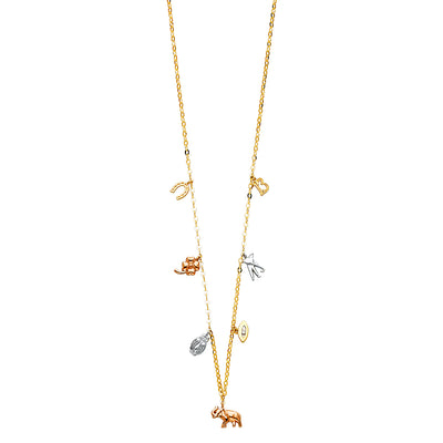 14K Gold Lucky Symbol Charms Necklace with Horseshoe Clover Owl Evil Eye Elephant - 17+1'