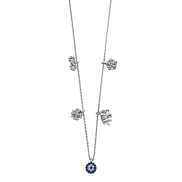 14K Gold Lucky Charm Necklace with Infinity Clover Elephant Snow Flake - 17+1'