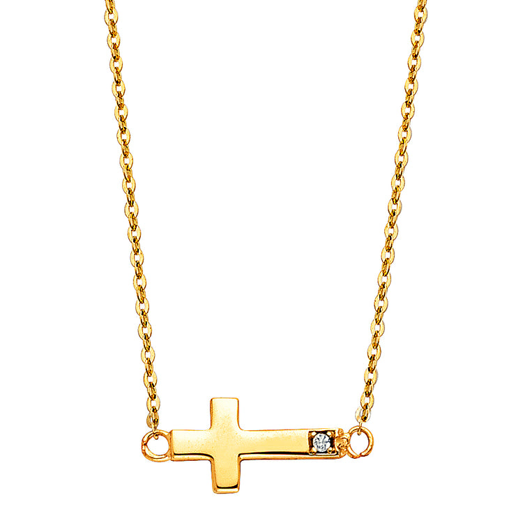 14K Gold Side Way Cross CZ Pendant Charm Chain Necklace - 17+1'
