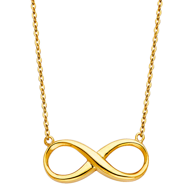14K Gold Infinity Forever Love Pendant Charm Chain Necklace - 17+1'