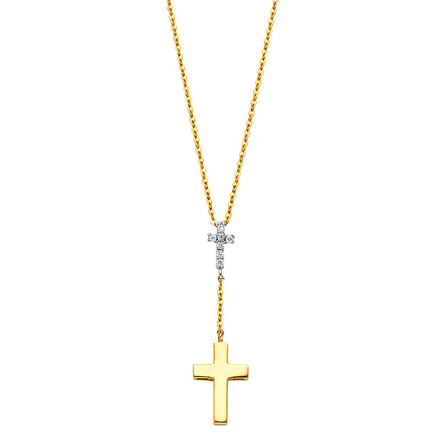14K Gold Double Cross Hanging CZ Pendant Charm Chain Y Necklace - 17+1'