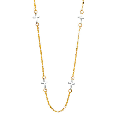 14K Gold Plain Cross Charms Chain Necklace - 17+1'