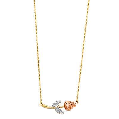 14K Gold Rose Flower & Leaf CZ Pendant Charm Chain Necklace - 17+1'