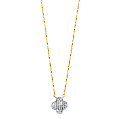 14K Gold Clover Flower CZ Pendant Charm Chain Necklace - 17+1'