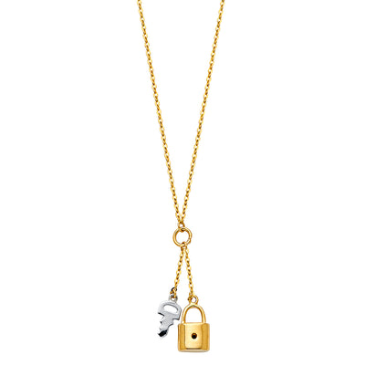 14K Gold Key To Heart & Lock Pendant charm chain Necklace - 17+1'