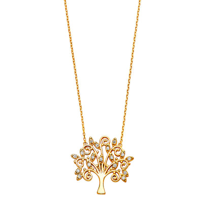 14K Gold Magic Family Tree CZ Pendant Charm Chain Necklace - 17+1'