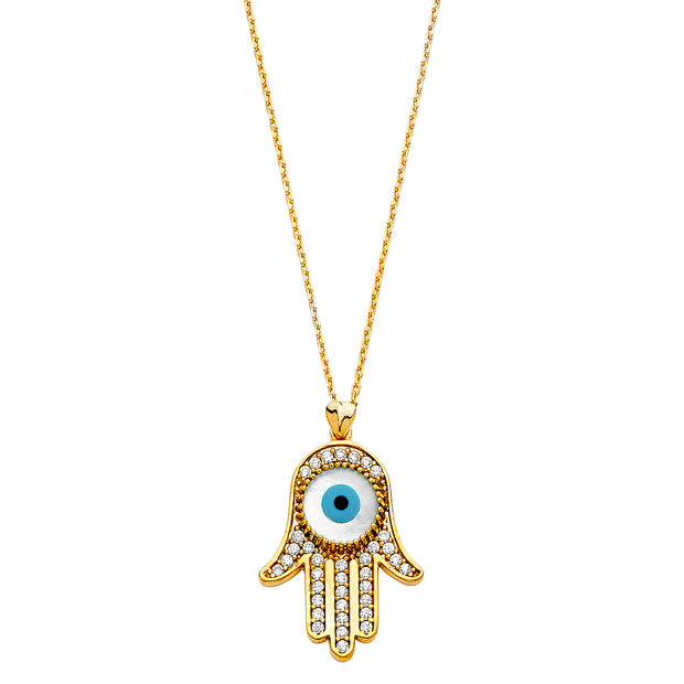 14K Gold Evil Eye Hand With CZ Pendant Charm Chain Necklace - 17+1'