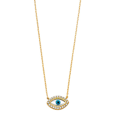 14K Gold CZ Evil Eye With Pendant Charm Chain Necklace - 17+1'