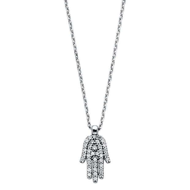 14K Gold Fancy Hamsa Hand CZ Necklace - 17+1'