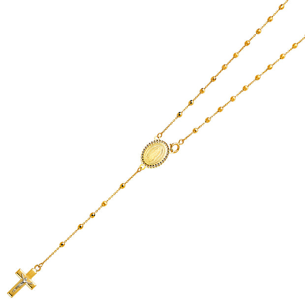 14K Gold 2.5mm Ball Guadalupe Crucifix Cross Pendant Rosary Beads Prayer Necklace - 20'