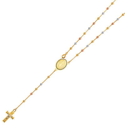 14K Gold 2.5mm Beads Ball Guadalupe Crucifix Cross Pendant Rosary Beads Prayer Necklace - 20'