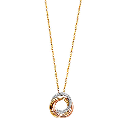 14K Gold Eternity Rings Love Knot Infinity CZ Charm Chain Necklace - 17+1'