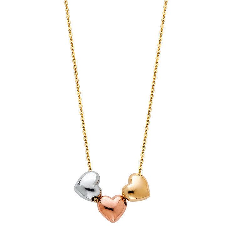 14K Gold Hollow Hearts Charms Chain Necklace - 17+1'