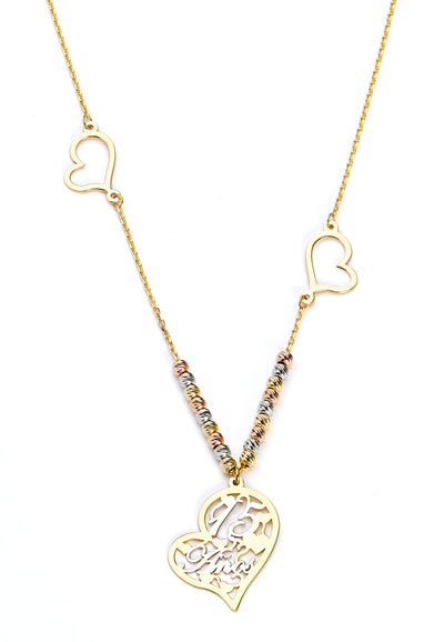14K Gold 15 Anos Quinceanera Heart Necklace - 17+0.5'