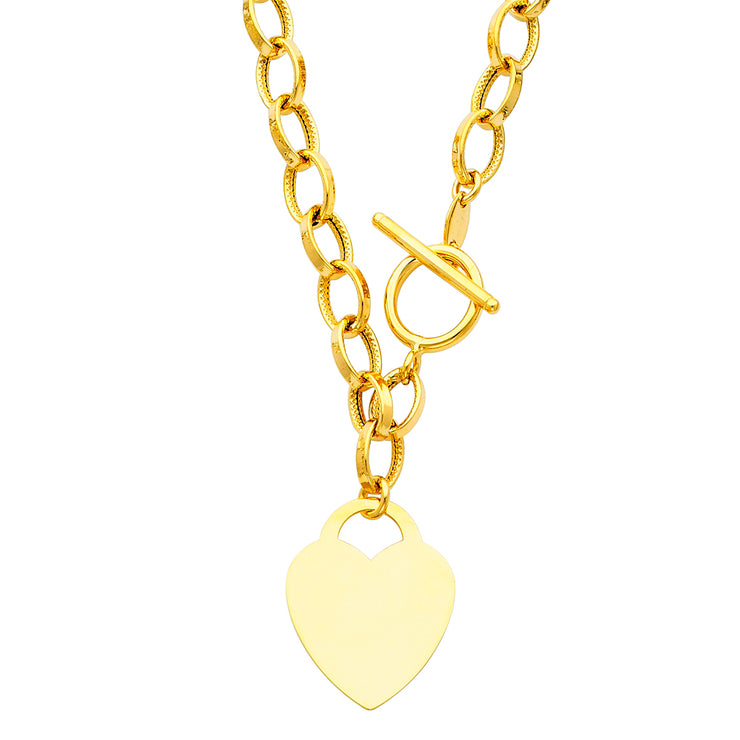 14K Gold Hollow Links With Heart Necklace - 18'