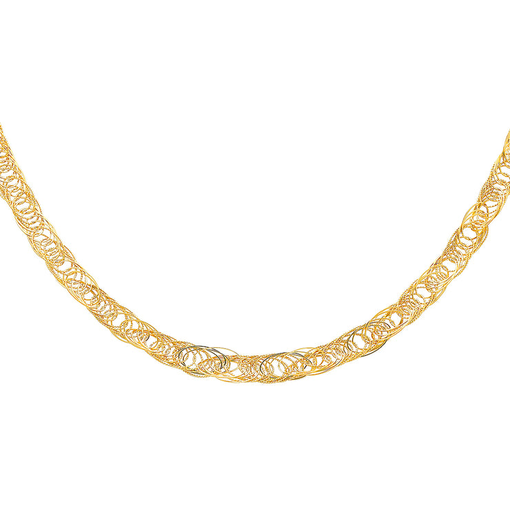 14K Gold 8mm Flexible Round Wired Necklace - 17+1'