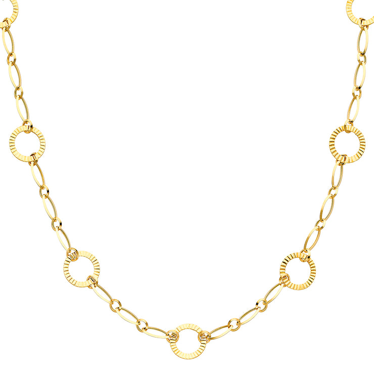 14K Gold Airy Round Links Necklace - 36'