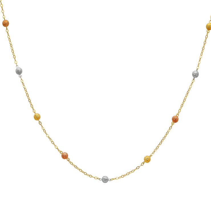 14K Gold Ball Chain Linked Necklace - 18'