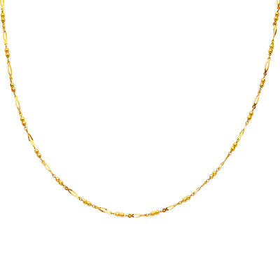 14K Gold Round Link Necklace - 17+1'