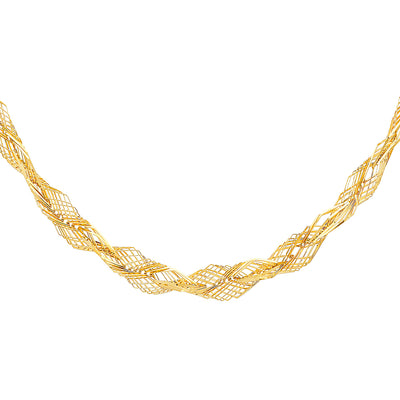 14K Gold 8mm Flexible Wired Necklace - 17+1'
