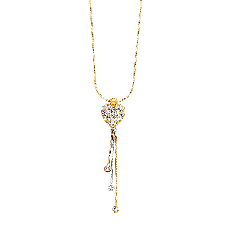 14K Gold Heart With 3 Drops CZ Heart Chain  Necklace - 16'