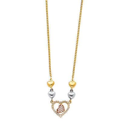 14K Gold Hearts Charms With CZ Chain Necklace - 17'
